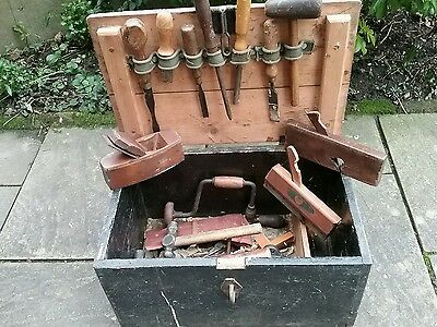 Wooden tool box of assorted vintage carpentry tools. COLLECTION ONLY (BA12)