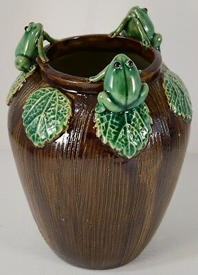 "Vintage Majolica Ceramic Porcelain Pottery 8"" Tall Green VASE Brown Frogs"