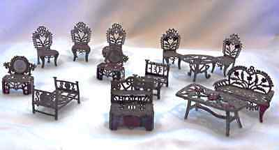 Antique Metal Filigree Miniature Doll House Furniture 13 pc Chairs Table Beds