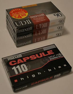 Maxwell UDII 90 / Capsule 110 lot of 4 new sealed blank cassette tape type II