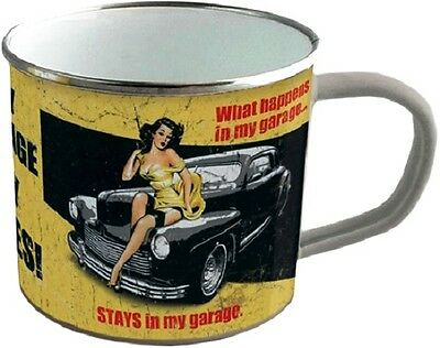 My Garage my Rules ! Pin Up Blechtasse Emaille Becher Tasse 8 x 8 cm