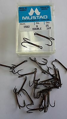 LOT of 25 MUSTAD double hooks # 3582 SIZE:8 BRONZE  made in Norway the real one