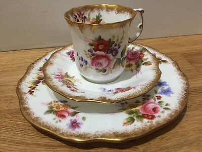 Hemmersley & Co Trio Dresden Sprays Coffee Cup Saucer Plate Hand Painted China