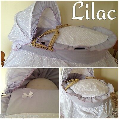 Replacement Moses Basket Dressing Covers Bedding Set Lilac/white Cotton Mix