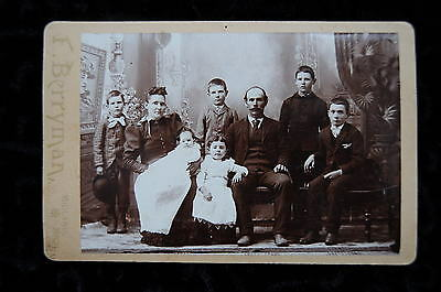 Vintage Cabinet Card Photo Large Family Midland Michigan Antique Photograph