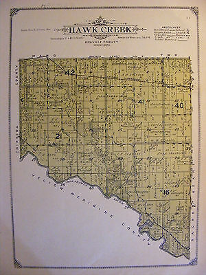 1913 Antique Map Renville County MN Minnesota Minn Hawk Creek Township Plat