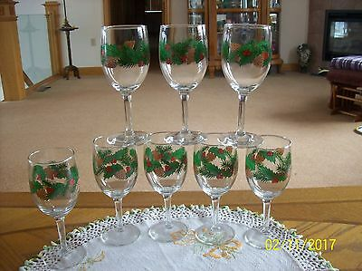 Libbey Christmas Holly Berry  Evergreen & Pine Comb Long Stemmed Goblets Set 8