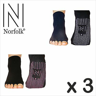 3 x Norfolk Womens Yoga and Pilates Toeless Socks with Grips (Non Slip) - Rosita