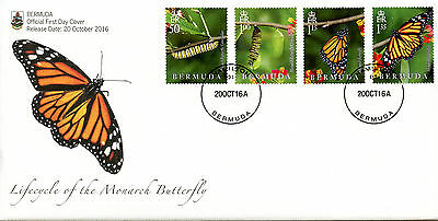 Bermuda 2016 FDC Lifecycle Monarch Butterfly 4v Cover Insects Butterflies Stamps