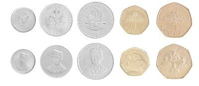 Haiti 5 -  50 Centimes & 1 to 5 Gourdes 5 Pieces (PCS) Coin Set, 1997-2013, Mint