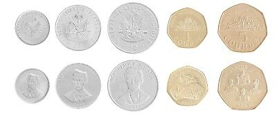 Haiti 5 to 50 Centimes & 1 to 5 Gourdes 5 Pieces (PCS) Coin Set, 1997-2013, Mint