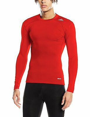 Adidas Techfit Long Sleeve Compression Baselayer Top  RED   NEW.