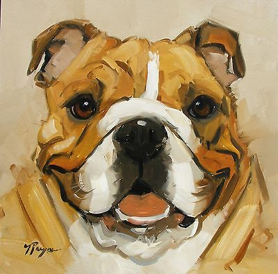 Original Oil painting - portrait of an english bulldog  dog  - by j payne