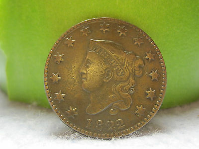 1822 Coronet Head Large Cent Higher Grade (1C)