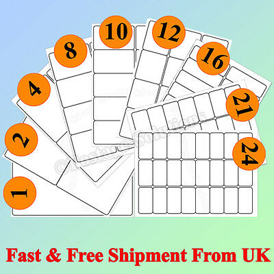 1000 A4 SIZE per sheet Address Label Self Adhesive FOR Inkjet Laser CHEAPER