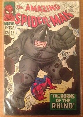 the amazing spider-man #41 'The Horns of the Rhino' '66 original print