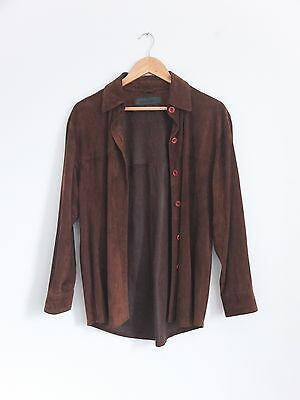 Vintage 90s Rehalero Brown Slouchy Western Real Suede Leather Goat Skin Shirt 16