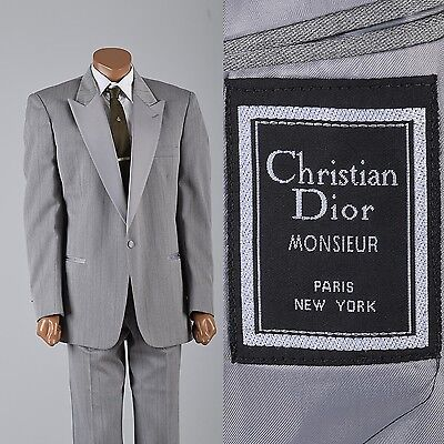 L Vintage 1980s 80s Christian Dior Silver Tuxedo Gray Tux Formal Wear Prom Suit