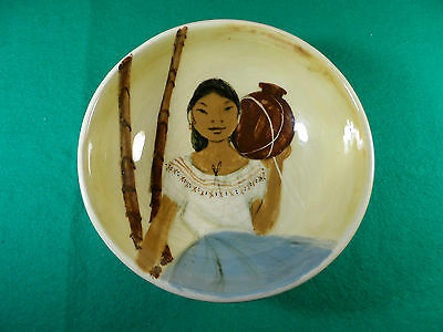 1950's Martin Boyd Pottery Bowl With An Island Lady Holding A Vase. Signed