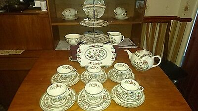 Johnson Bro indian Tree Afternoon Tea Set with  �� 3 Tier Cake Sandwich Stand PC