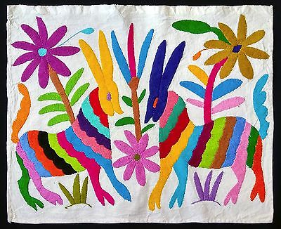 Nice Otomi Embroidered Textile From Puebla Mexico. Mexican Folk Art