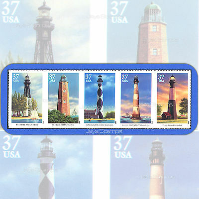 2003  SOUTHEASTERN LIGHTHOUSES  Attached Strip of 5  MINT 37¢  # 3787-91  3791a