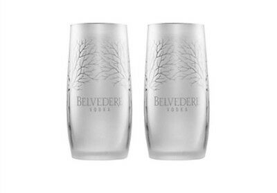 Belvedere Frosted Vodka Glasses X 2 New