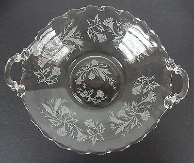 """Fostoria """"Century"""" Etched Heather Serving Bowl with Handles"""