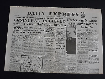 Daily Express Newspaper WW2-Jan 19th1943 -LEINGRAD RELIEVED