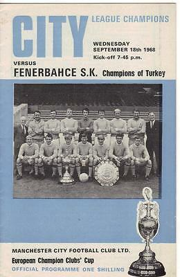 1968/69      Man City    v    Fenerbahce   European Cup    Excellent / Near Mint