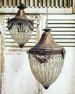Antique, French Chandelier, Vintage, Industrial, 60cm Tall