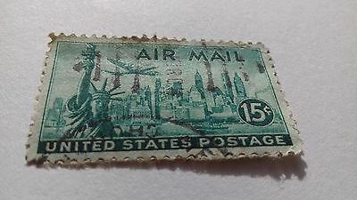 Usa Air Mail Airmail Stamp 1947 Used 15C Cents
