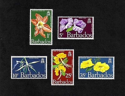Barbados 1970 Flowers of Barbados complete set of 5 values (SG 419-423) MNH