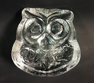 Skruf Owl Glass Sweden Paperweight MCM Vintage Art Glass