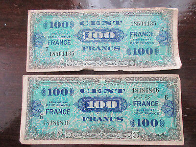 1944 100 Francs France Allied Military Note Currency Lot of 2 100 Cent C (t)