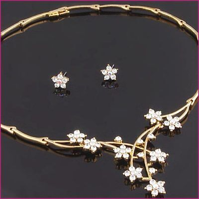 Gold Tone Floral Wedding Bridal Costume Jewellery Set use Swarovski Crystals