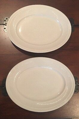 2-White Oval Shenango China Oval Plates Made In New Castle, PA Cafe-vintage