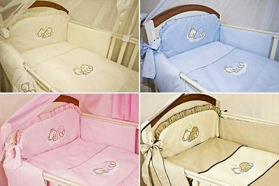 3 Piece Pcs Nursery Baby Bedding Bumper Set Safety Padded With Embroidery