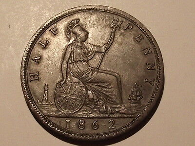 1862 Queen Victoria Half-Penny Almost Vf Condition