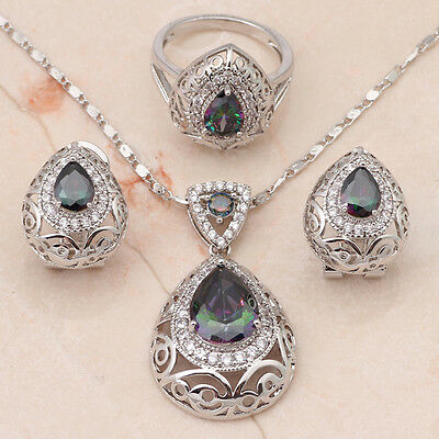 Beautiful Sterling Silver Plated Mystic Necklace, Earrings & Ring Set ( size N)