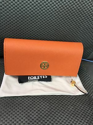 TORY BURCH Orange Saffiano Leather Sunglass Eyeglass Case & Cloth Pouch   NEW