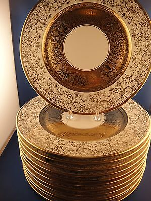 Heinrich Selb Bavaria Set Of 12 Heavy Gold Dinner Plates Charger 11""