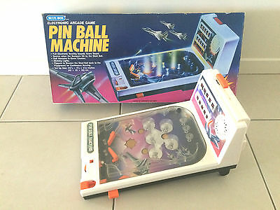 BLUE BOX VINTAGE 1970's ELECTRONIC TABLE TOP PINBALL MACHINE WITH ORIGINAL BOX