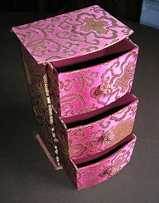Pretty Little Min Brocade Covered Chest Of 3 Drawers Used  Cb/15