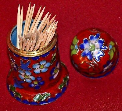 Toothpick Holder Vintage Multicolors Hand Crafted Brass And Enamel