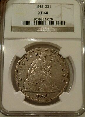 1845 Seated Liberty Dollar NGC XF40 Silver $1.  low mintage.