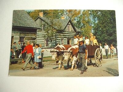 Riding In The Ox Cart Upper Canada Village Vintage Postcard