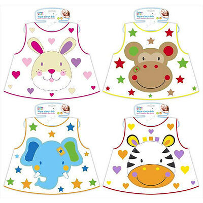 First Steps Wipe Clean Baby Bib Feeding Mealtime Toddler Weaning 6m+ Jungle Pals