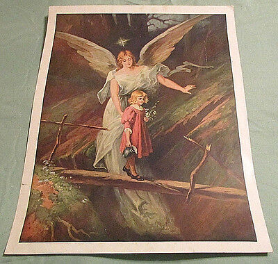 Vintage Print of Guardian Angel Watching Over Little Girl - Unsigned