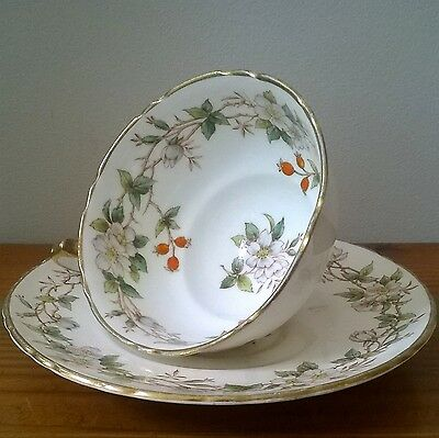 VINTAGE Adderley FLORAL China STAFFORDSHIRE Cup & Saucer